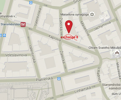 Map view: Exchange office Exchange 8 is in the centre of Prague - Žatecká street, near Old Town Square and Staroměstská underground station.